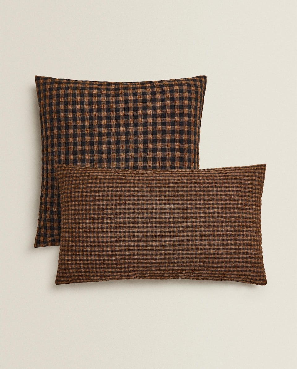 MULTICOLOURED CHECK CUSHION COVER