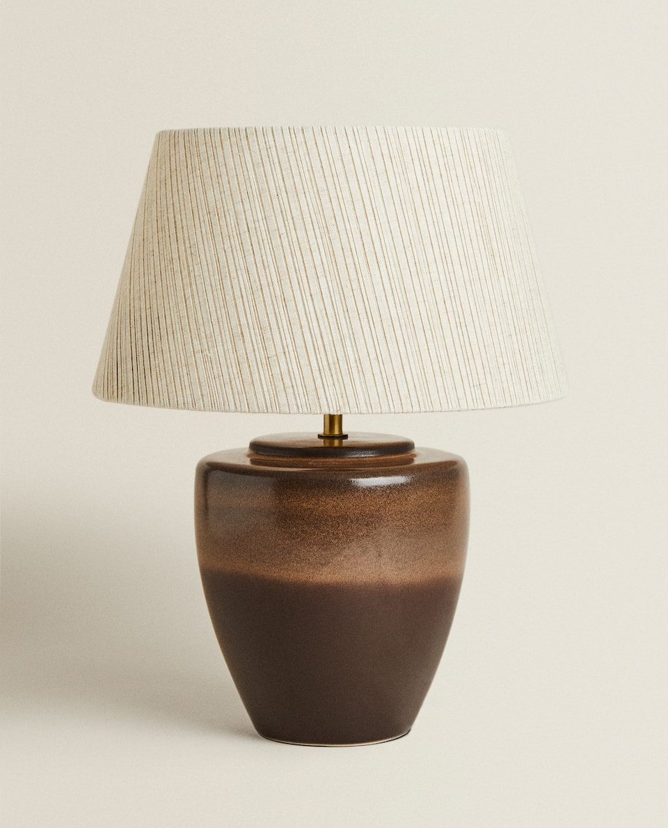 LAMP WITH PLEATED LAMPSHADE