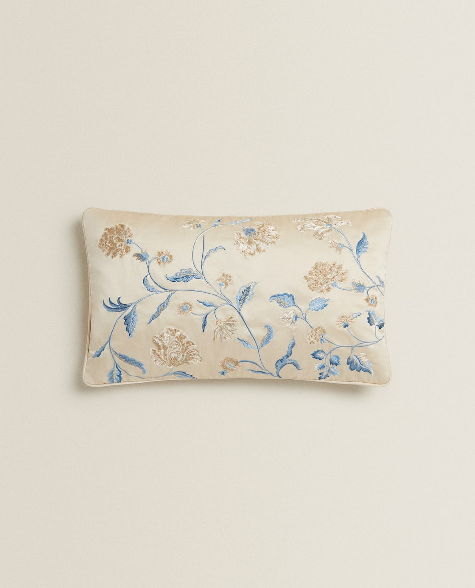 FLORAL SATEEN CUSHION COVER