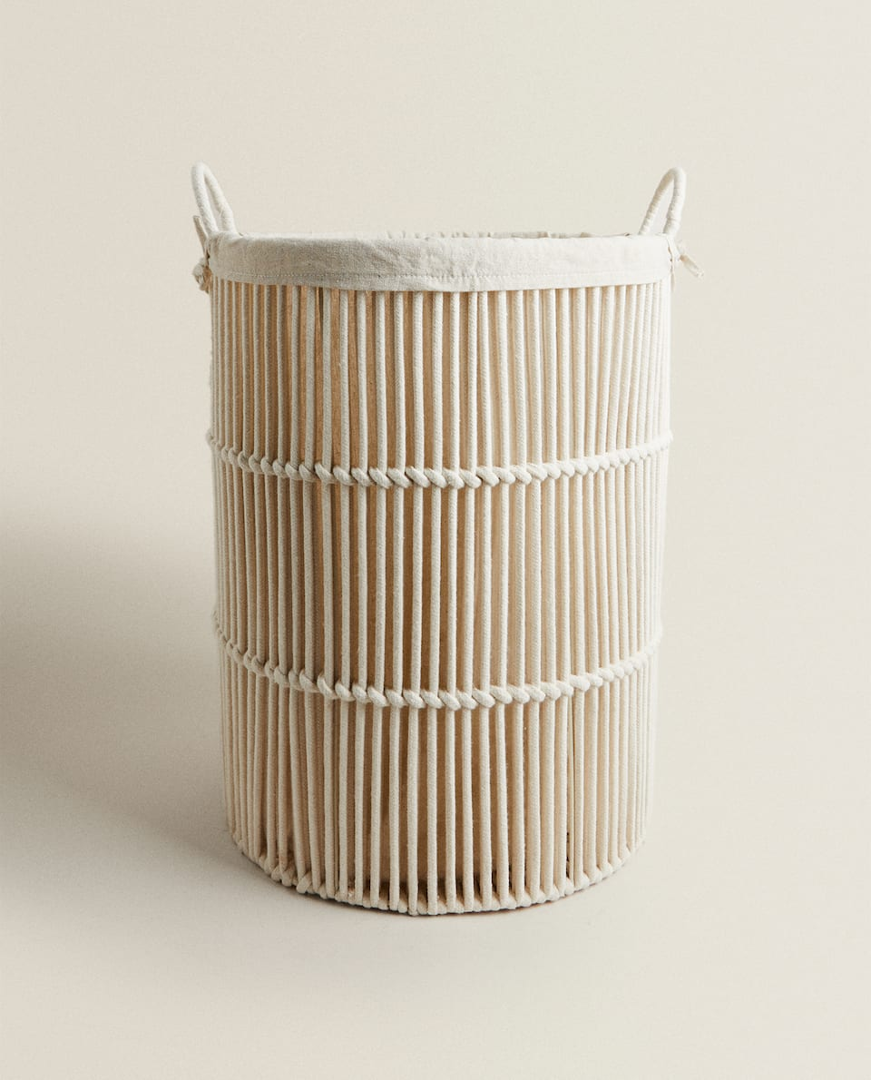 ROUND FABRIC-LINED LAUNDRY BASKET