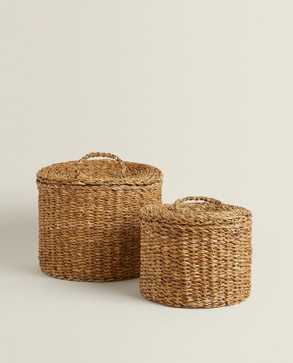 ROUND SEAGRASS BASKET WITH LID