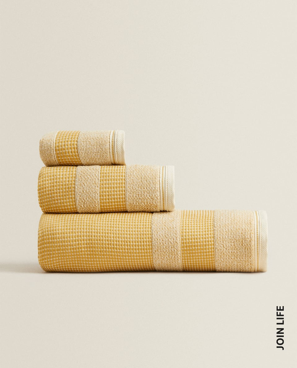 WAFFLE-TEXTURE COTTON TERRY TOWEL