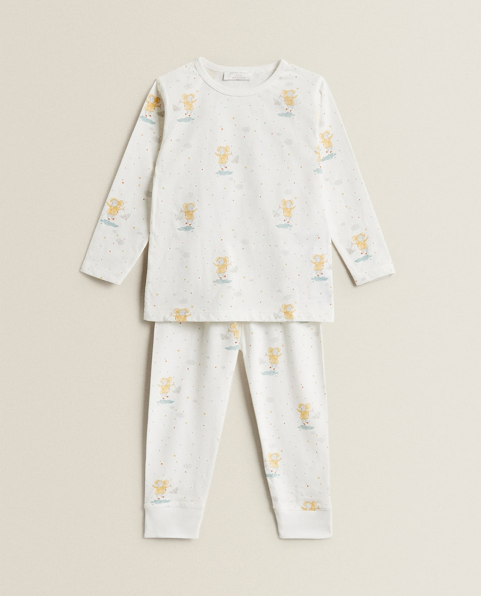 MOUSE PRINT COTTON JERSEY PYJAMA SET