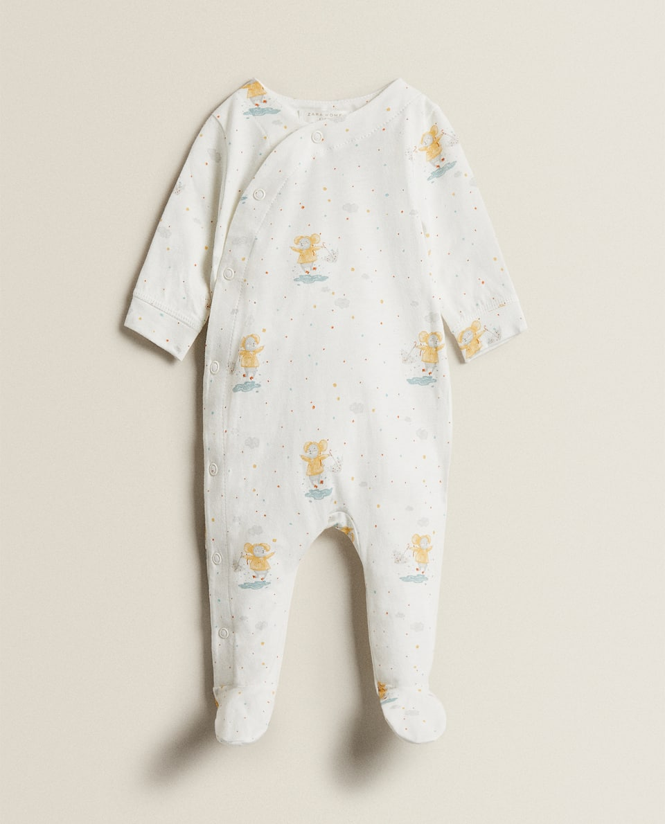 MOUSE PRINT COTTON JERSEY ROMPER