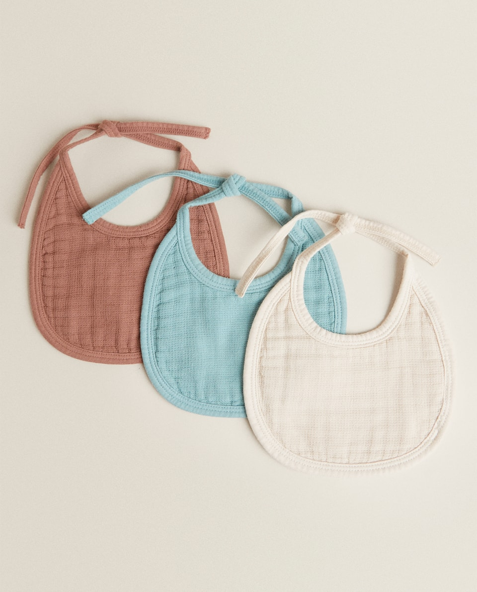 MINI WAFFLE COTTON BIB (PACK OF 3)