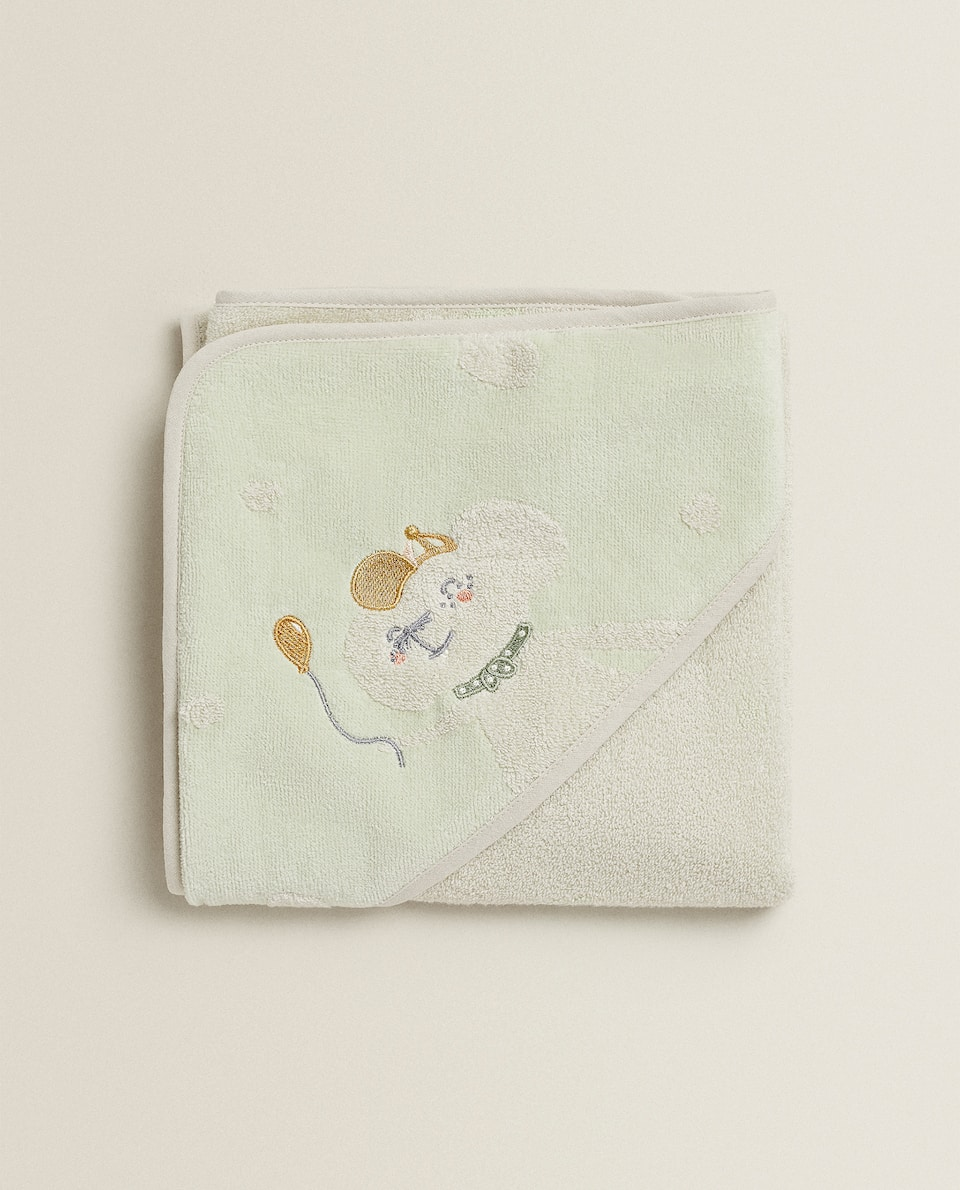 HOODED BABY TOWEL WITH MOUSE