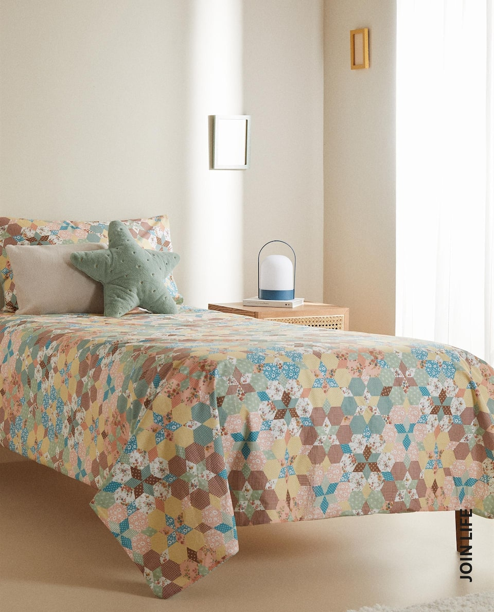 PATCHWORK-EFFECT DUVET COVER