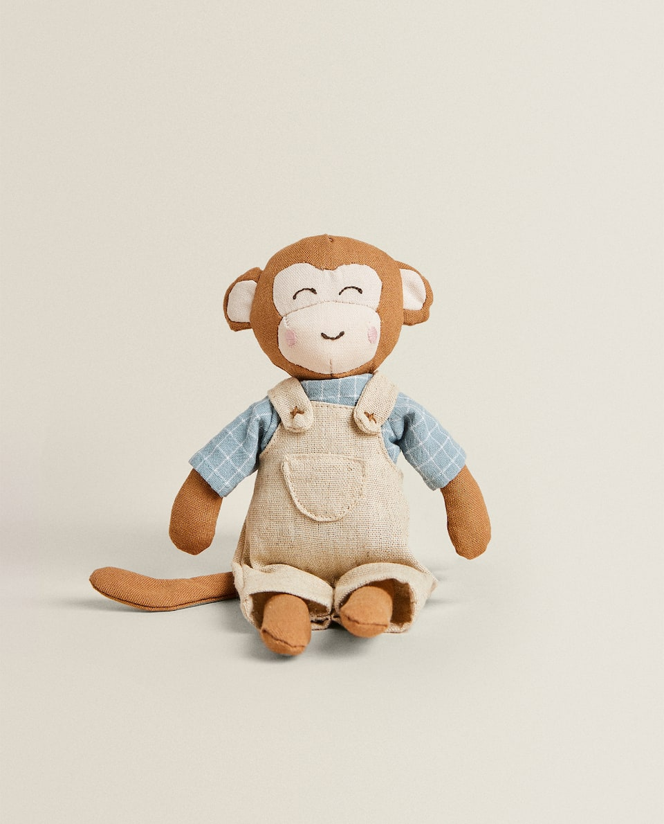 MONKEY SOFT TOY WITH DUNGAREES