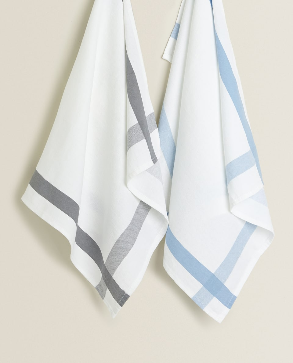 CONTRASTING STRIP TEA TOWEL (PACK OF 2)