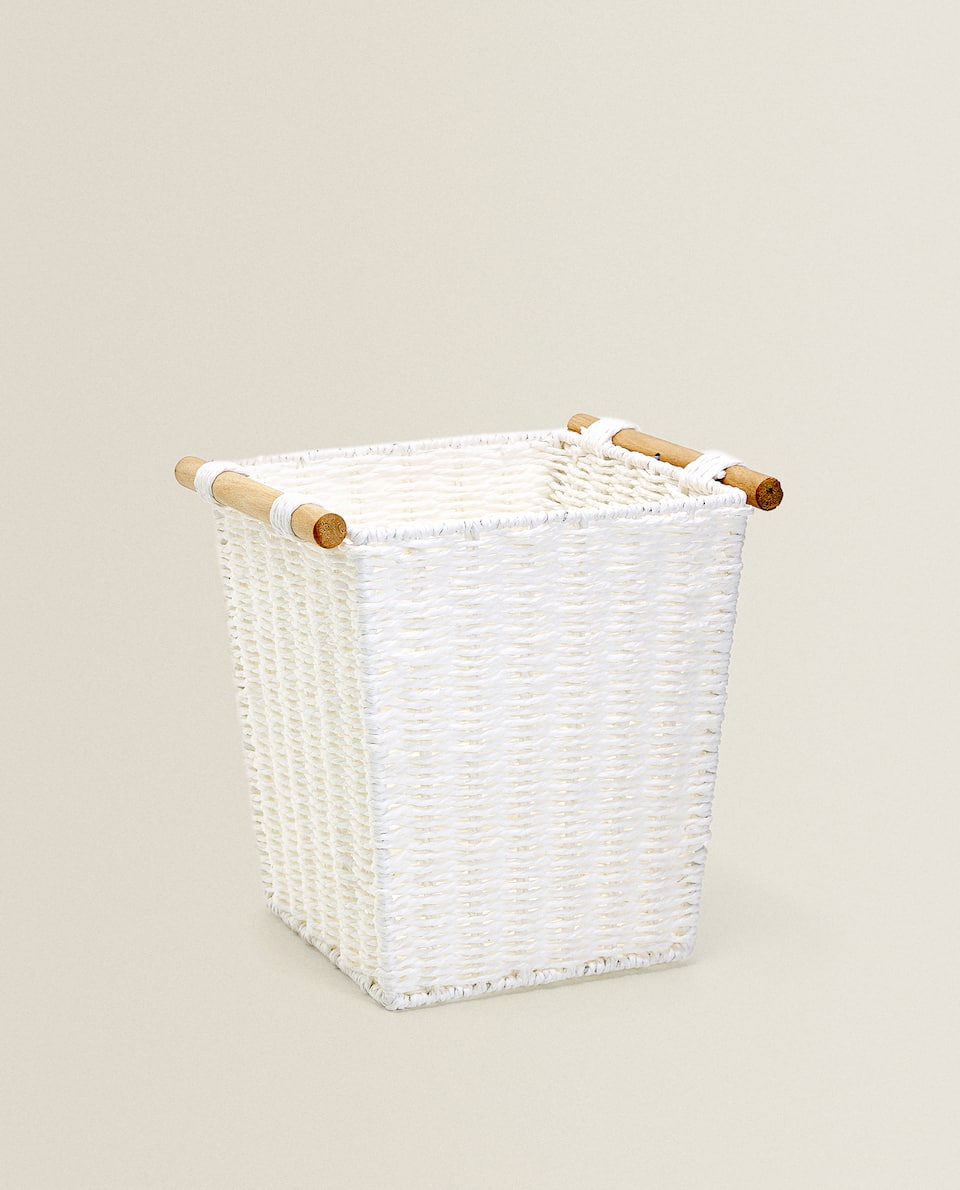 SQUARE BASKET WITH WOODEN HANDLES