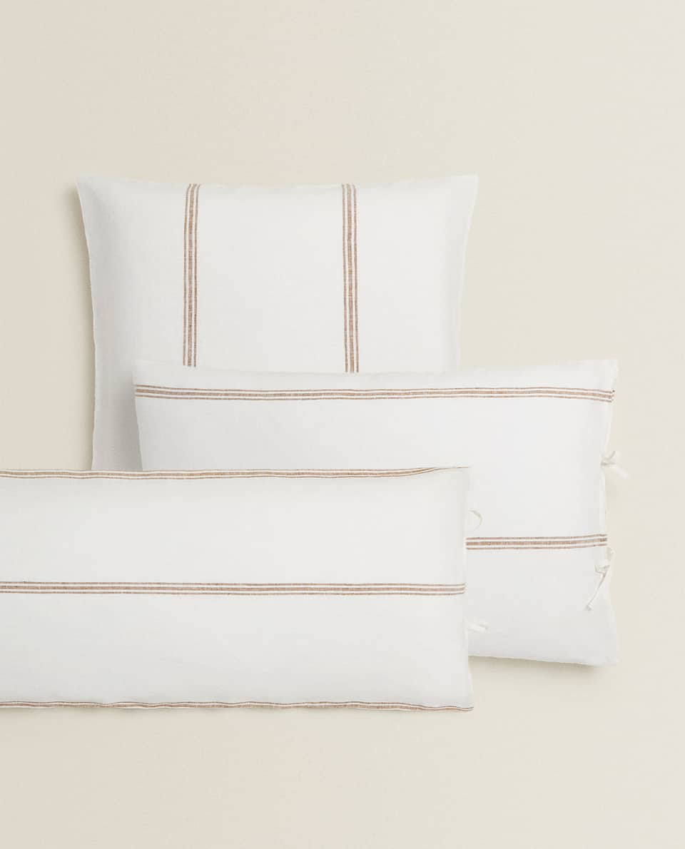 STRIPED LINEN PILLOWCASE WITH BOWS