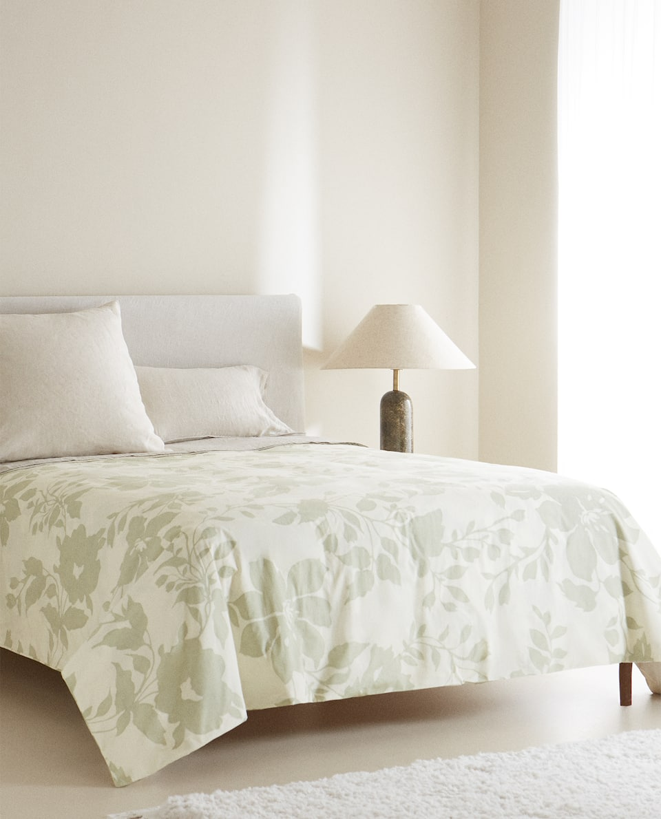 DUVET COVER WITH LARGE FLORAL PRINT