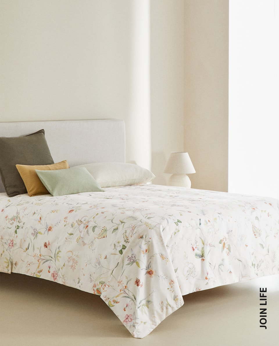 MULTICOLORED FLORAL PRINT DUVET COVER