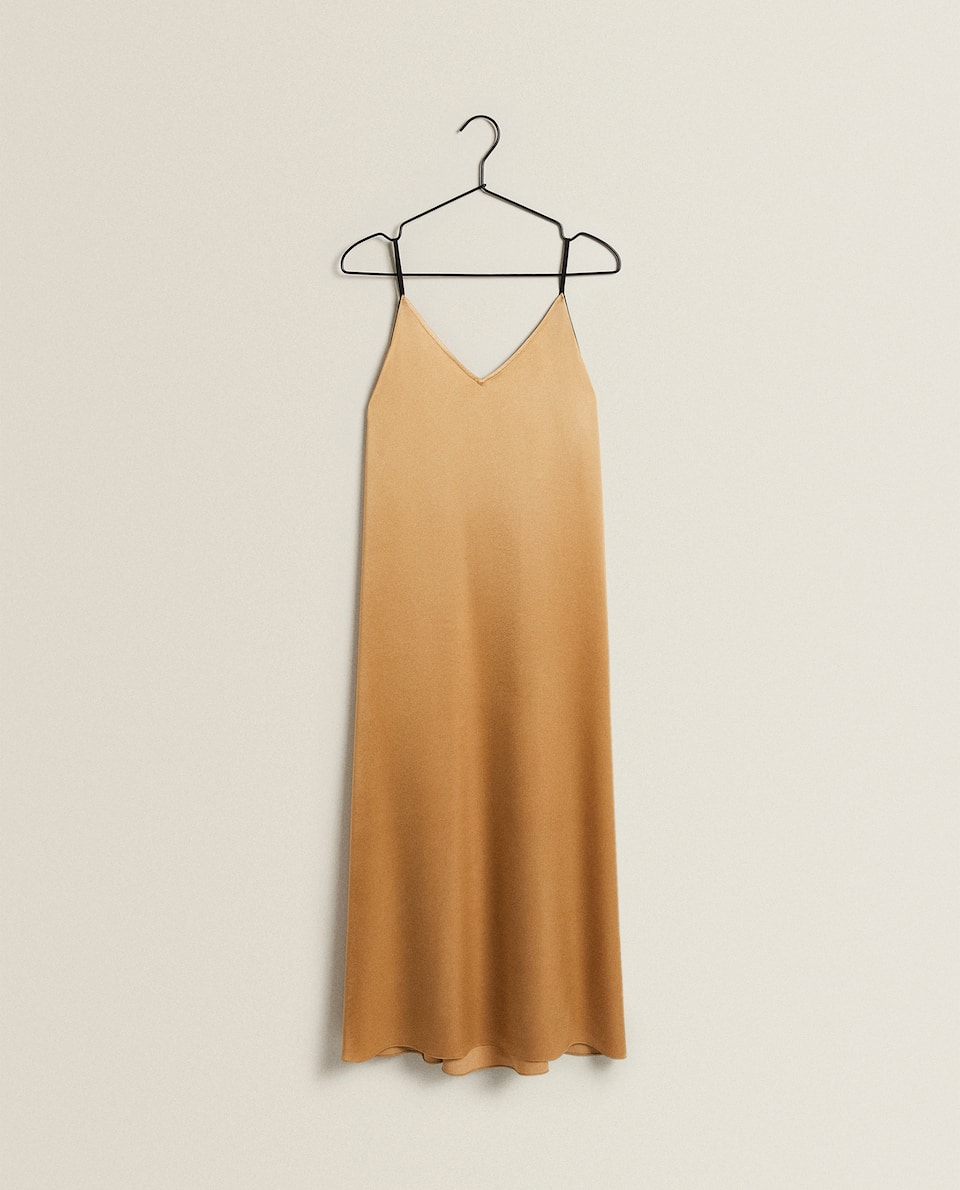 LONG SATEEN NIGHTDRESS WITH STRAPS