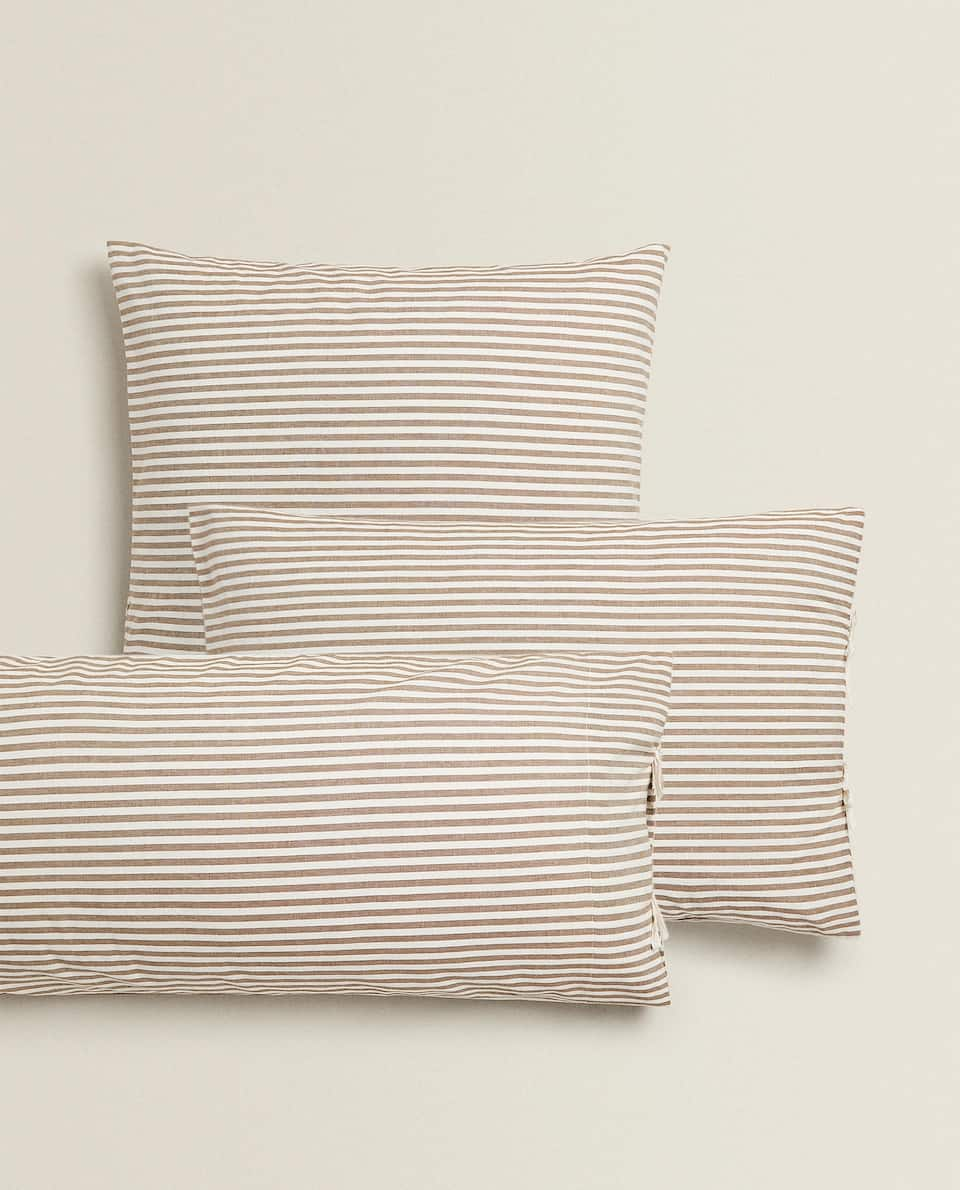 STRIPED DYED THREAD PILLOWCASE