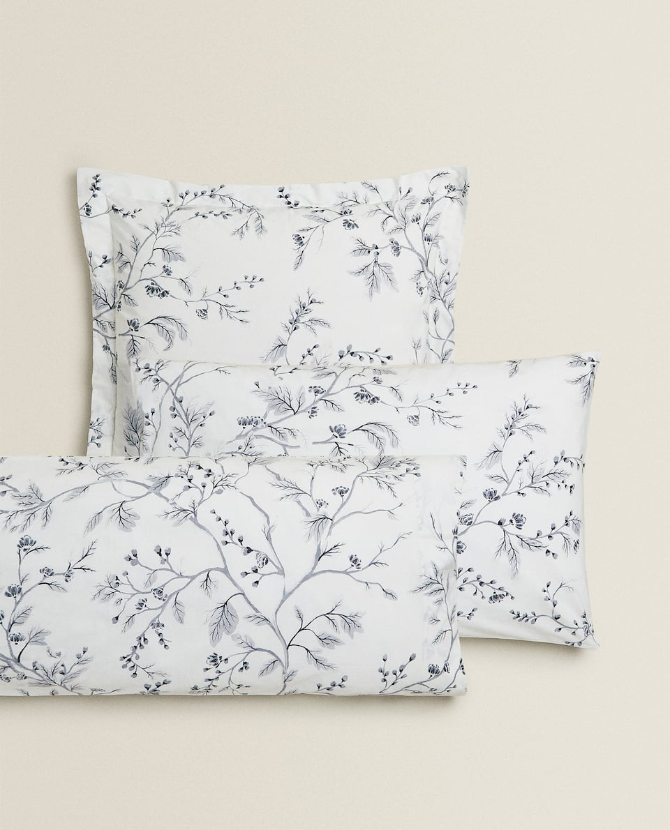 GREY FLORAL PRINT PILLOWCASE