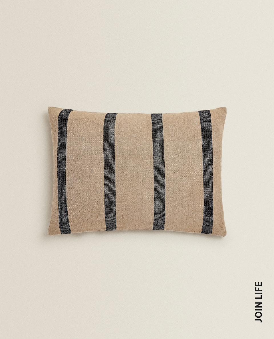 STRIPED LINEN CUSHION COVER