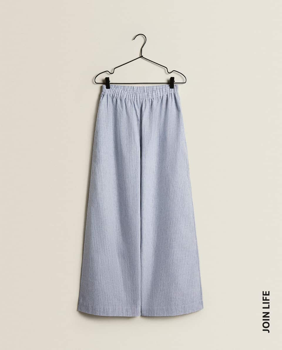 STRIPED COTTON LINEN TROUSERS