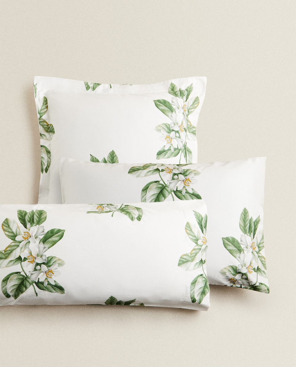(300-THREAD-COUNT SATEEN) LEMON TREE PRINT PILLOWCASE