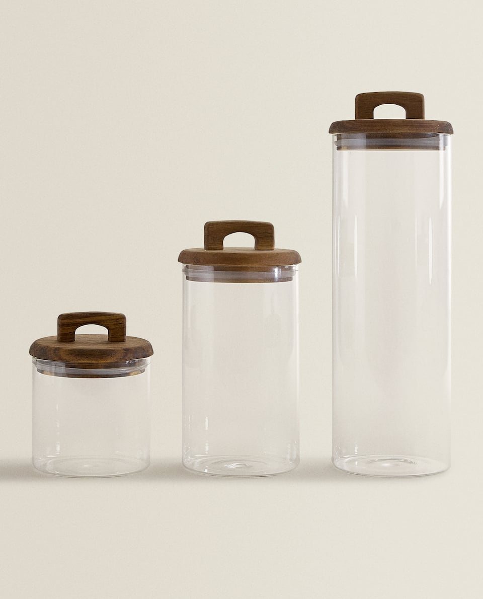 BOROSILICATE GLASS AND WOOD STORAGE JAR