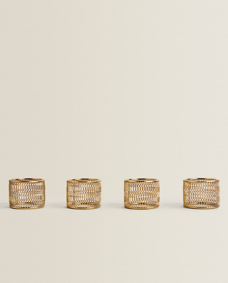 GOLDEN MESH NAPKIN RINGS (PACK OF 4)