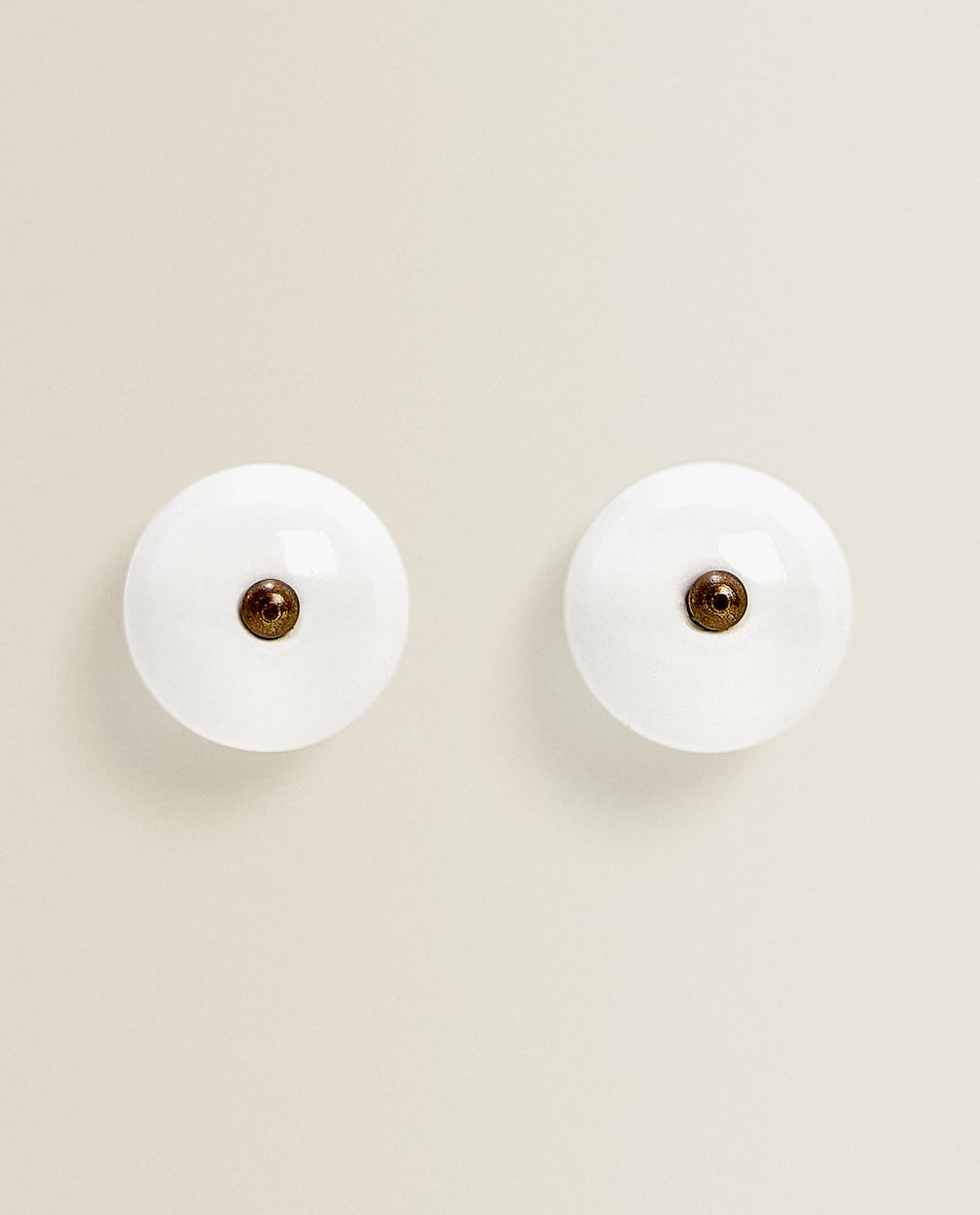 ROUND CERAMIC DOOR KNOB (PACK OF 2)