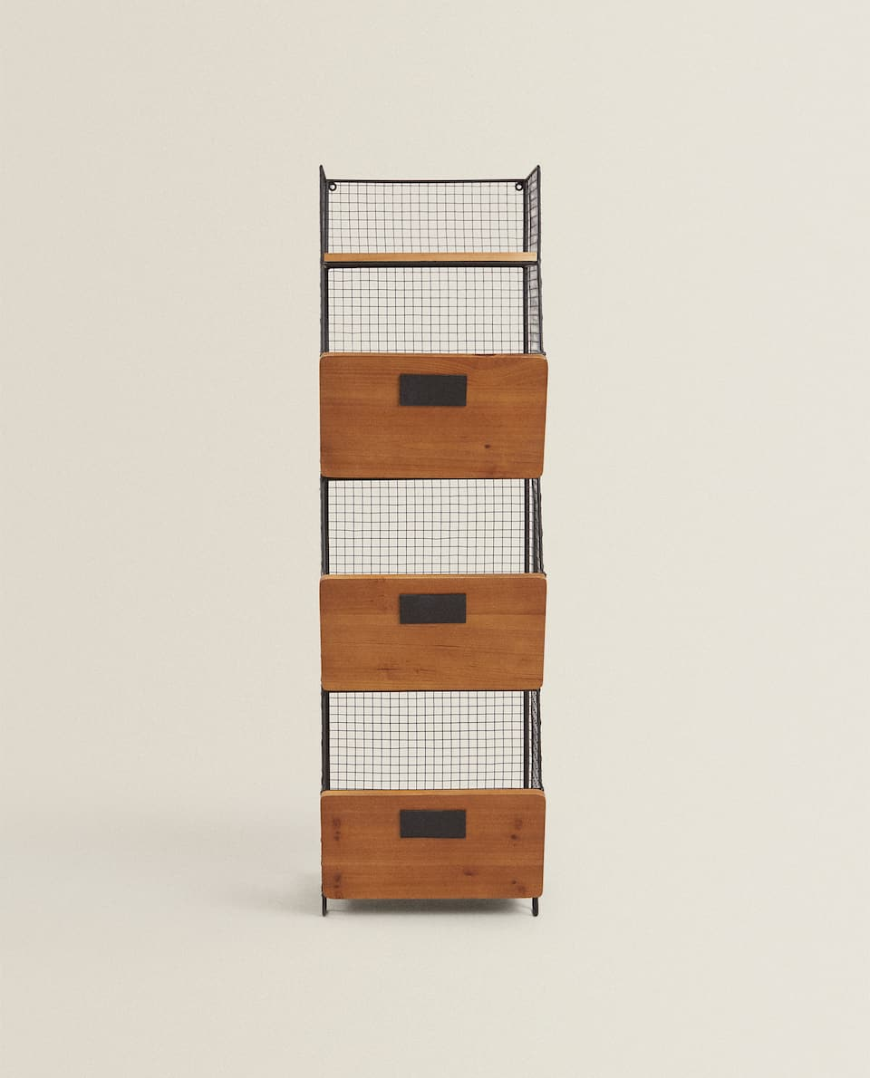 WOOD AND METAL PIECE OF STORAGE FURNITURE