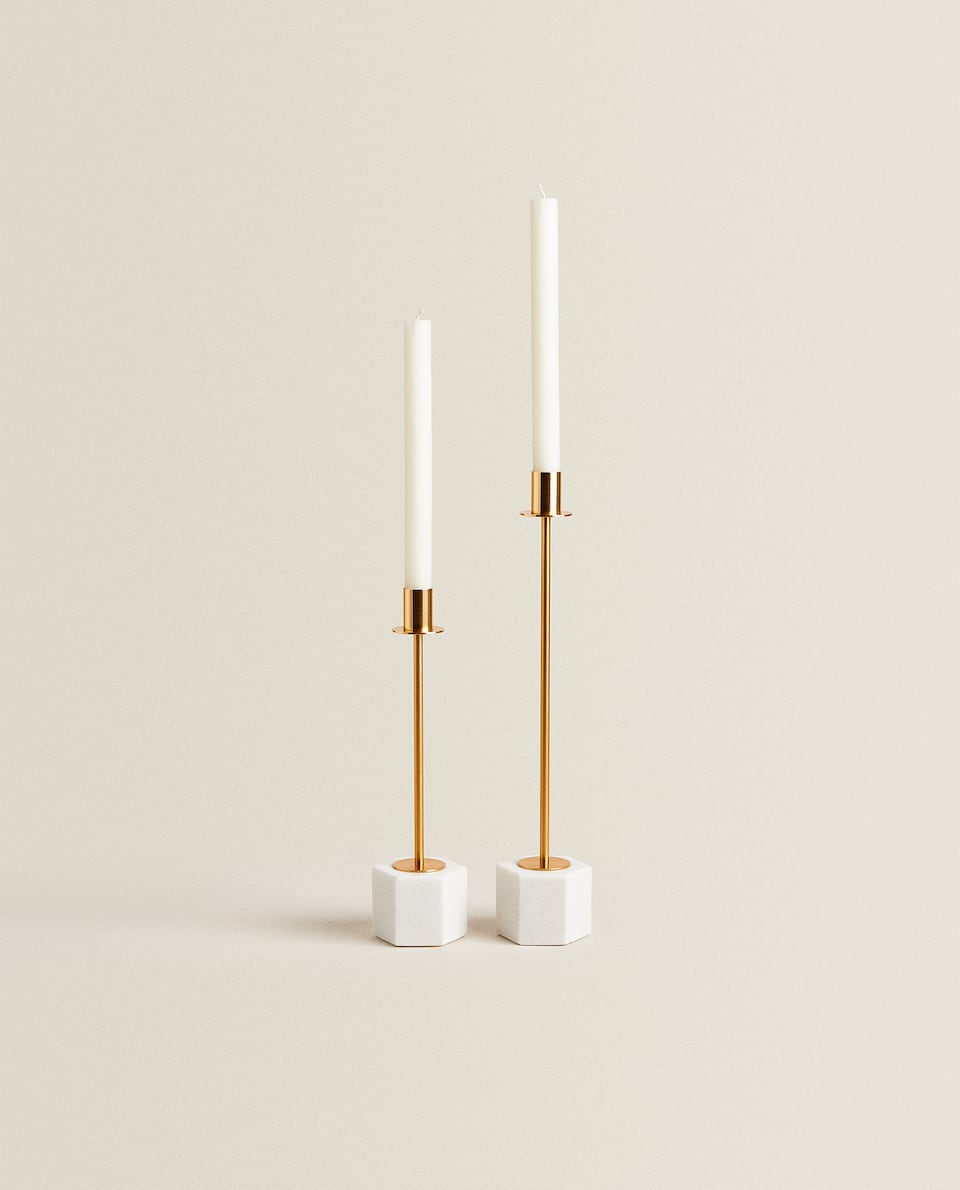 CANDLESTICK WITH MARBLE BASE