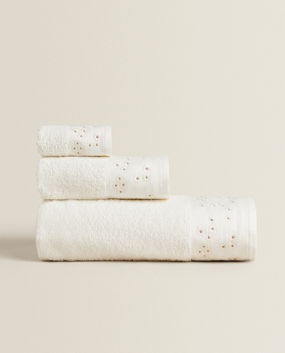 EMBROIDERED BORDER TOWEL