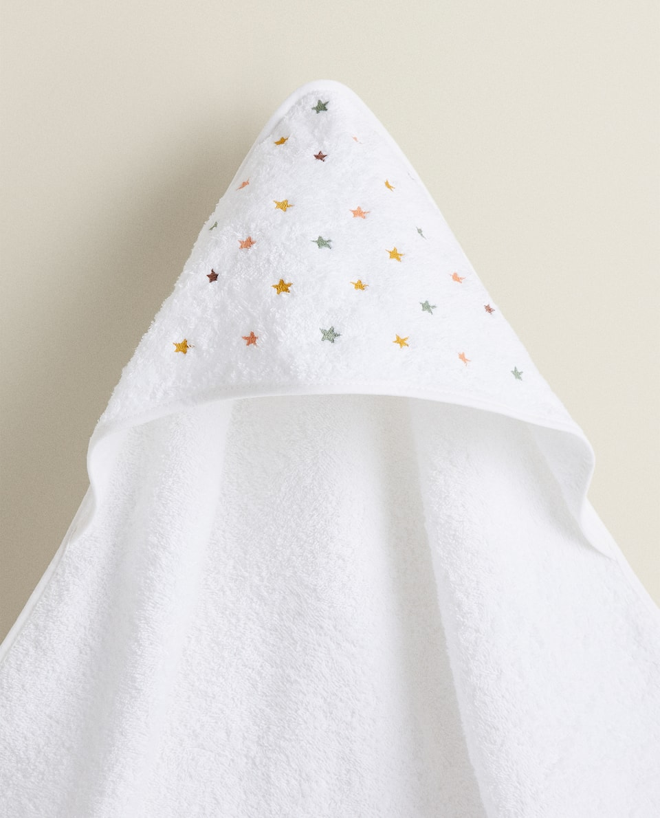 BABY HOODED TOWEL WITH EMBROIDERED STARS