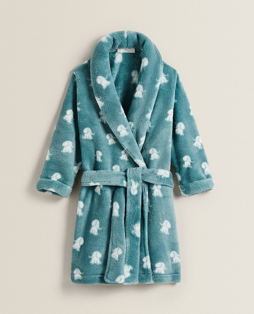 ELEPHANT PRINT FLEECE DRESSING GOWN