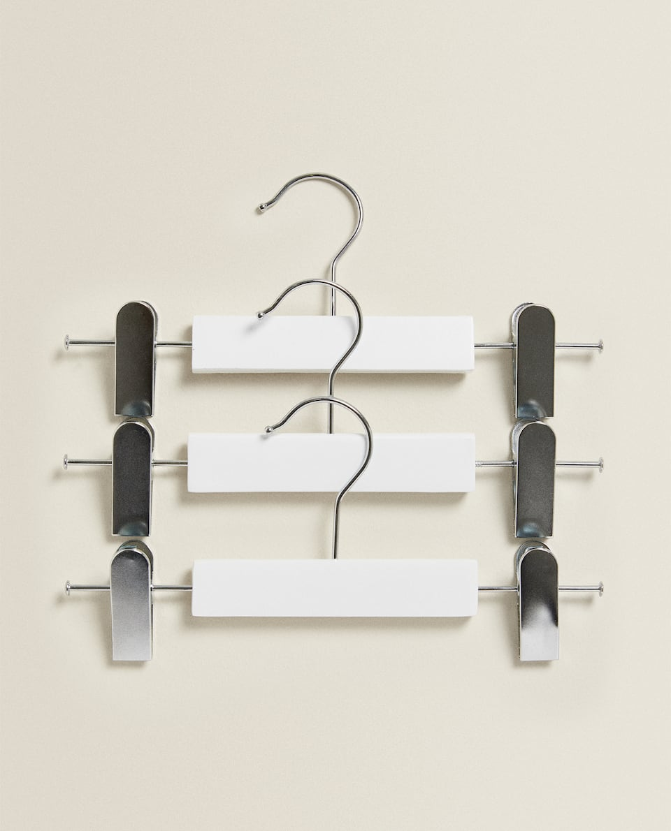 METAL AND WOOD SKIRT HANGER (SET OF 3)
