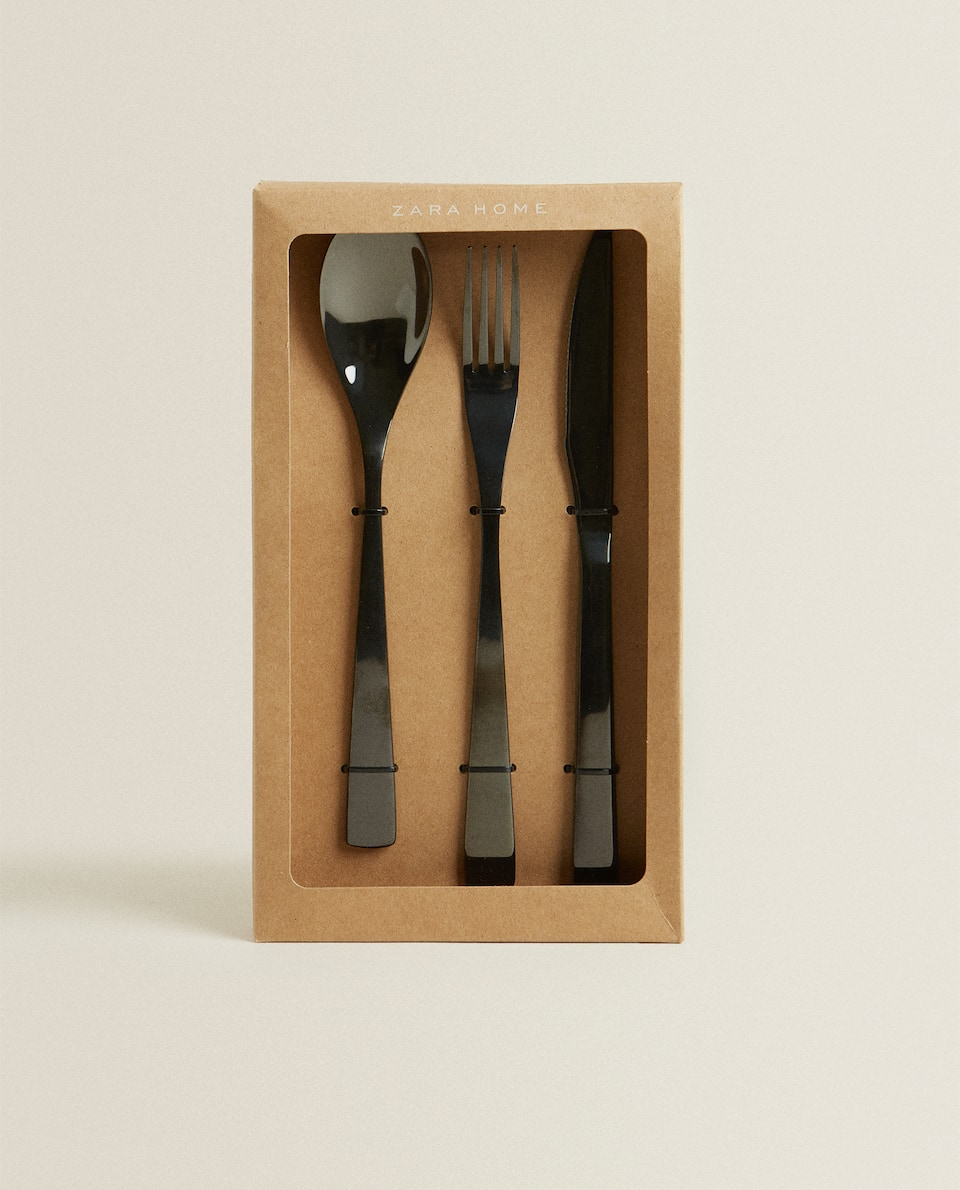 3-PIECE BLACK SHINY CUTLERY BOX