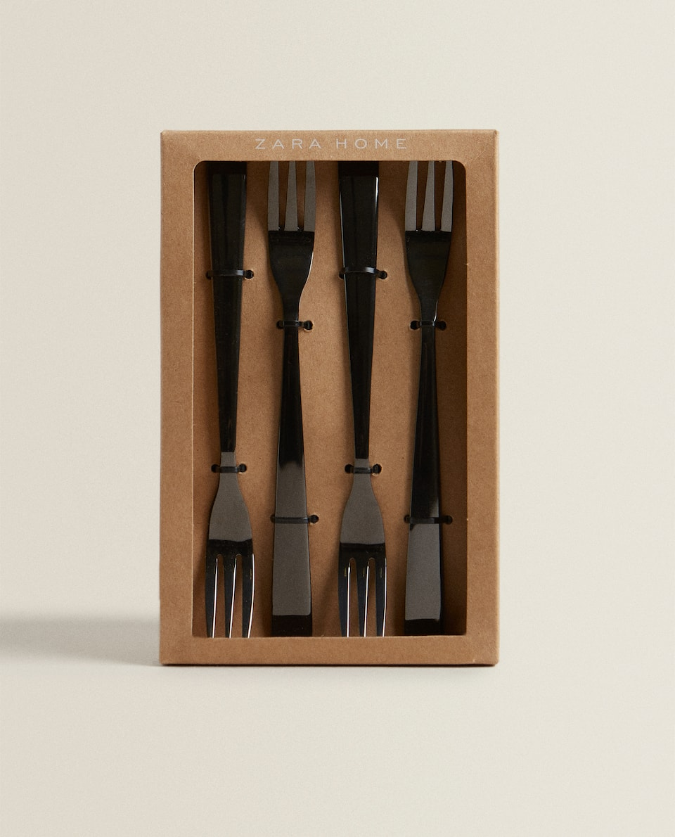 BOX OF 4 SHINY BLACK BRUNCH FORKS