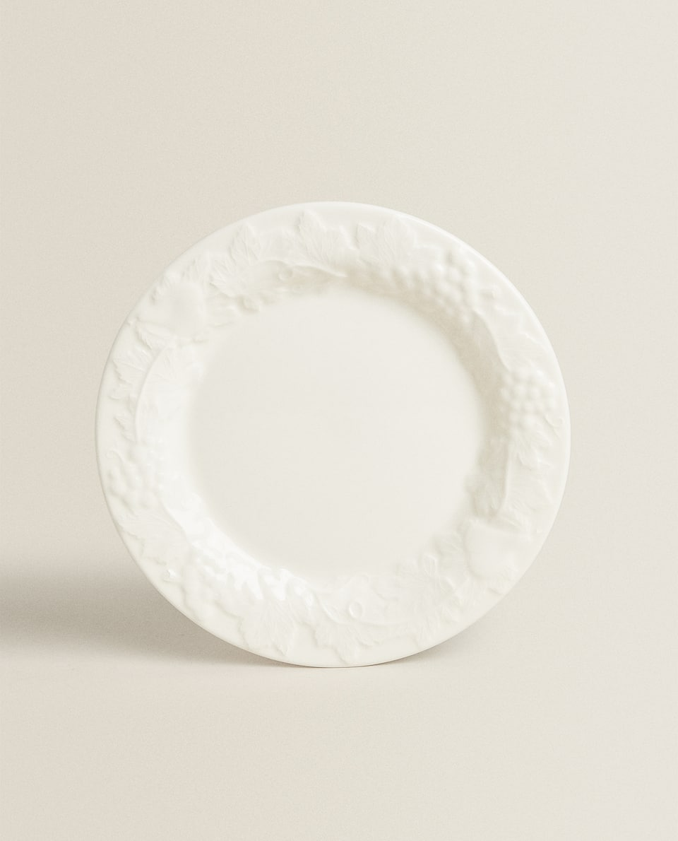 ASSIETTE PLATE FAÏENCE RELIEF FRUITS