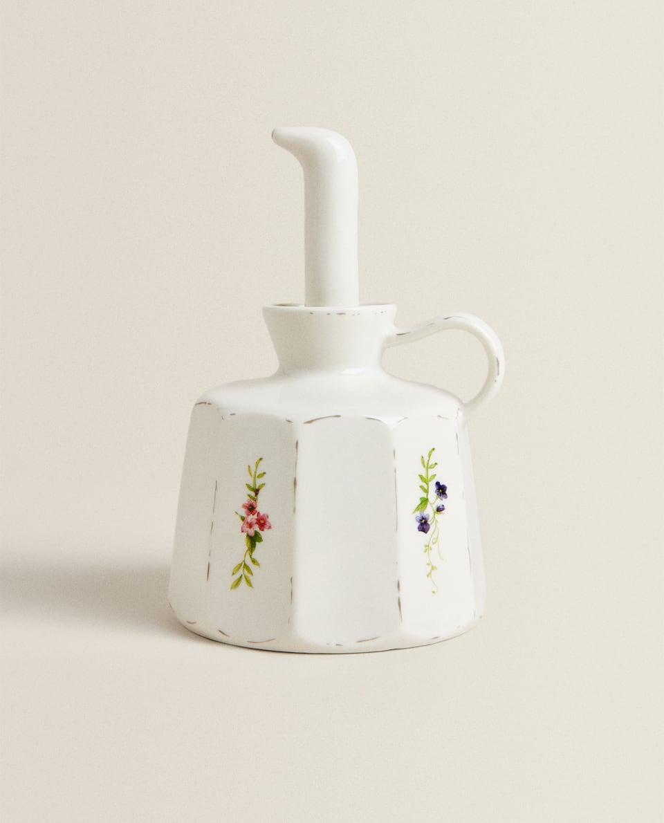 花卉瓷製油瓶