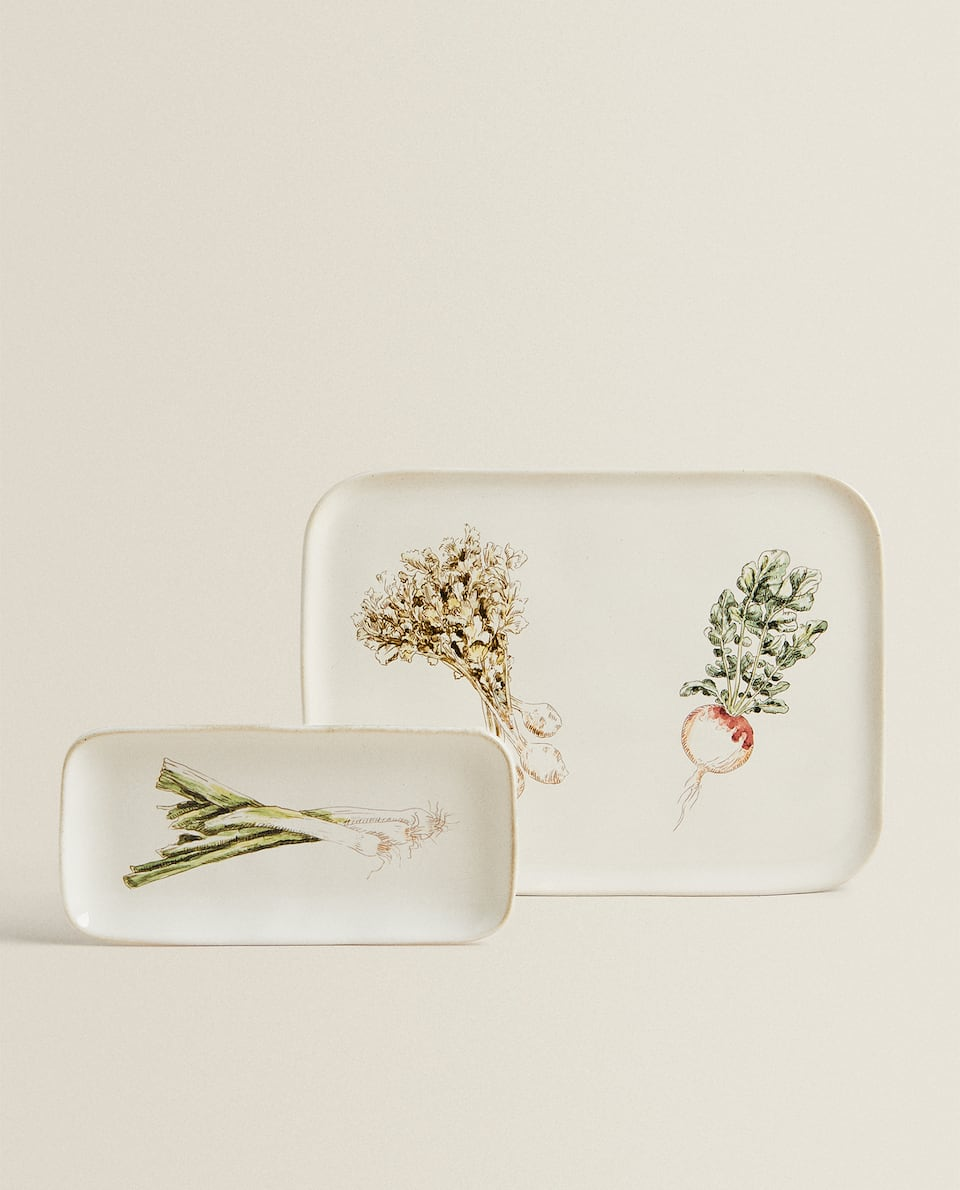 VEGETABLE RECTANGULAR STONEWARE SERVING DISH