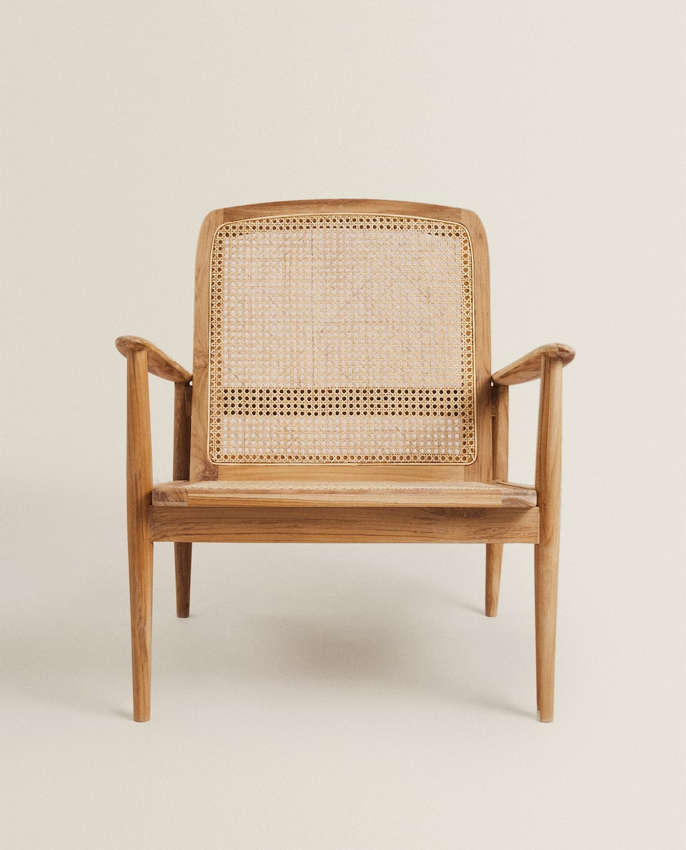 TEAK AND RATTAN ARMCHAIR