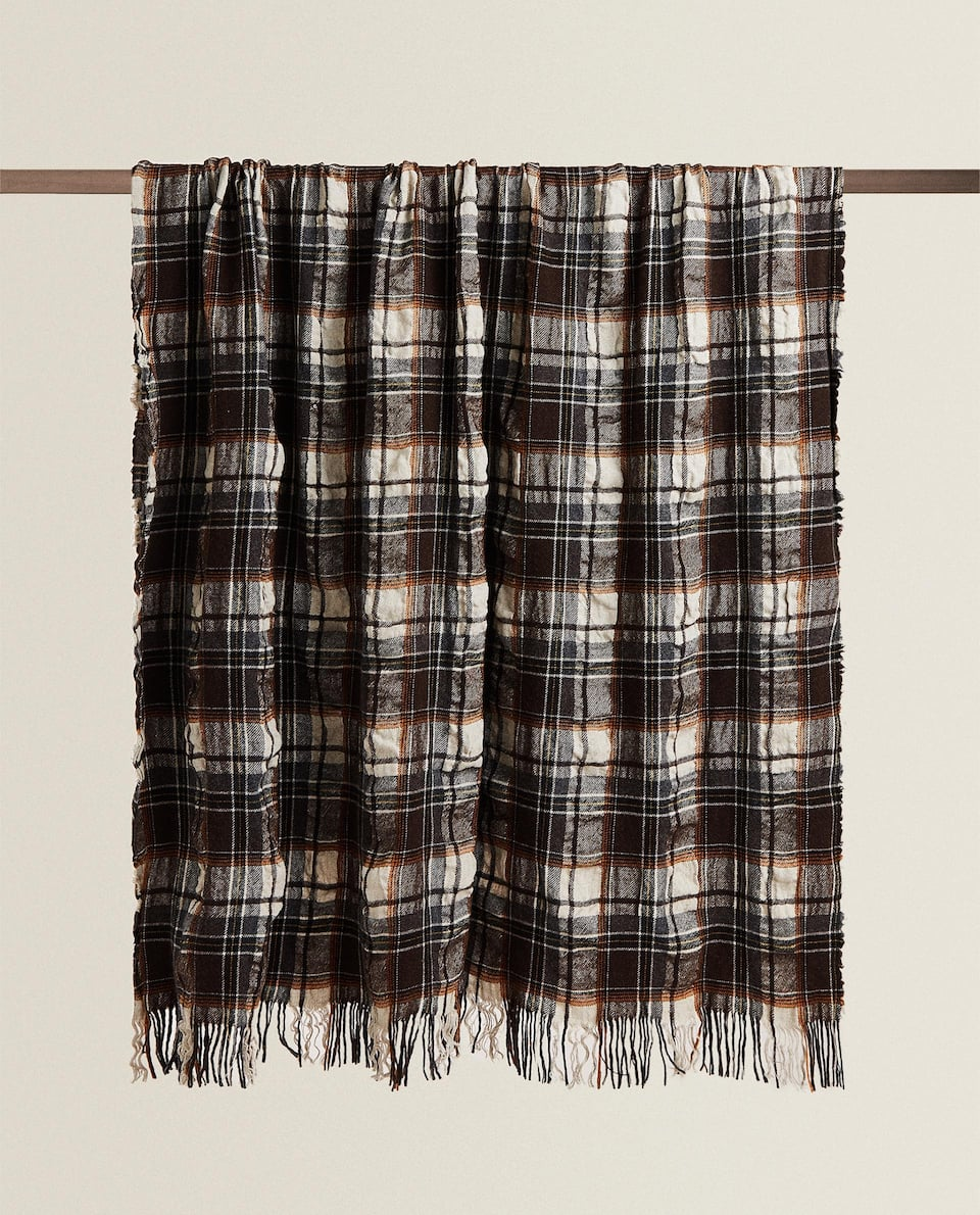 WOOL AND LINEN CHECK BLANKET