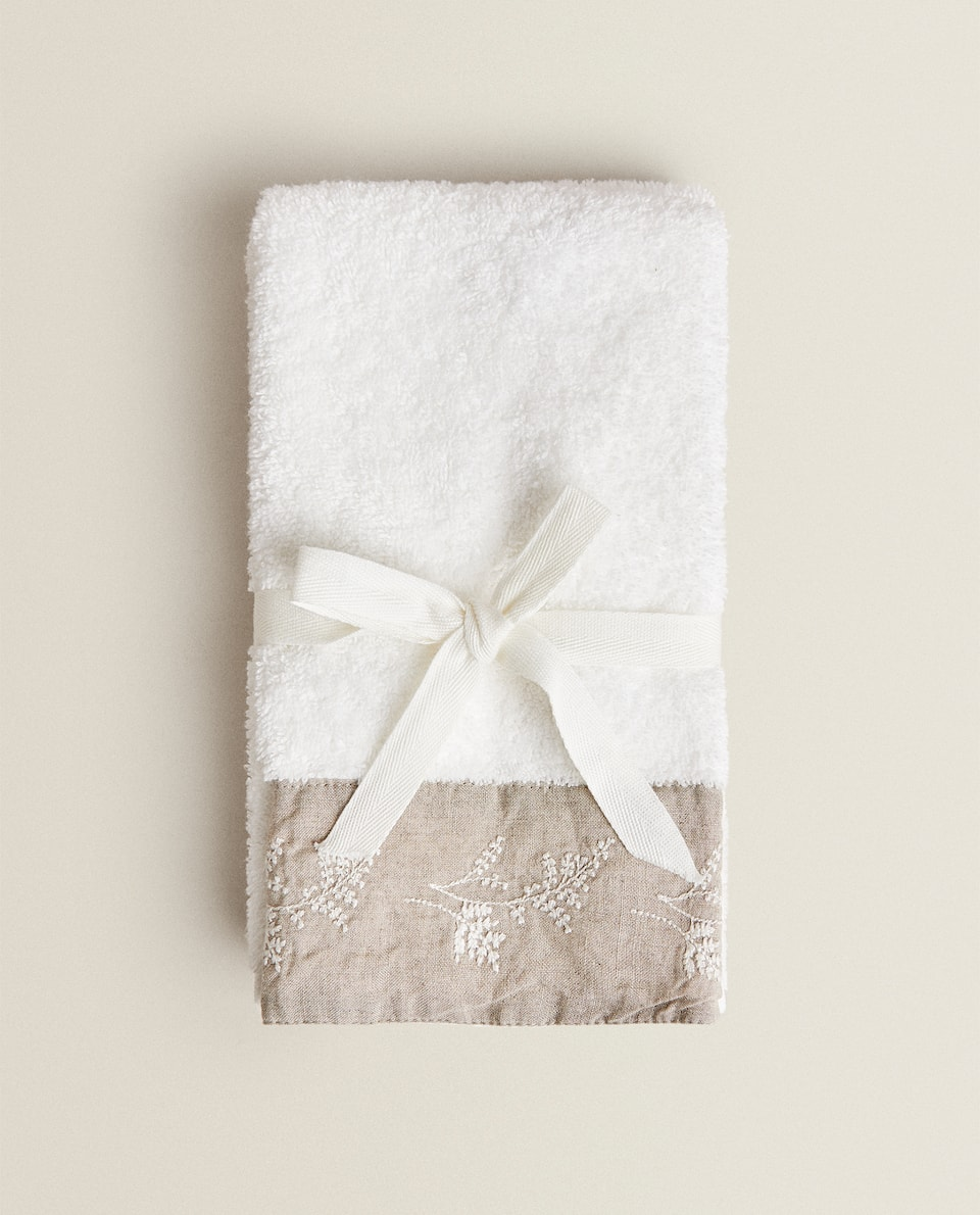 TOWEL WITH EMBROIDERED LINEN BORDER (PACK OF 2)