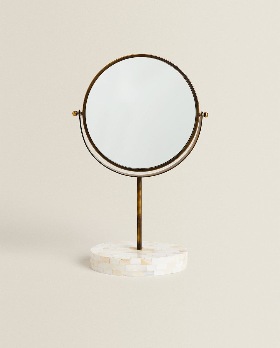 STAND-UP MIRROR WITH MOTHER-OF-PEARL FOOT