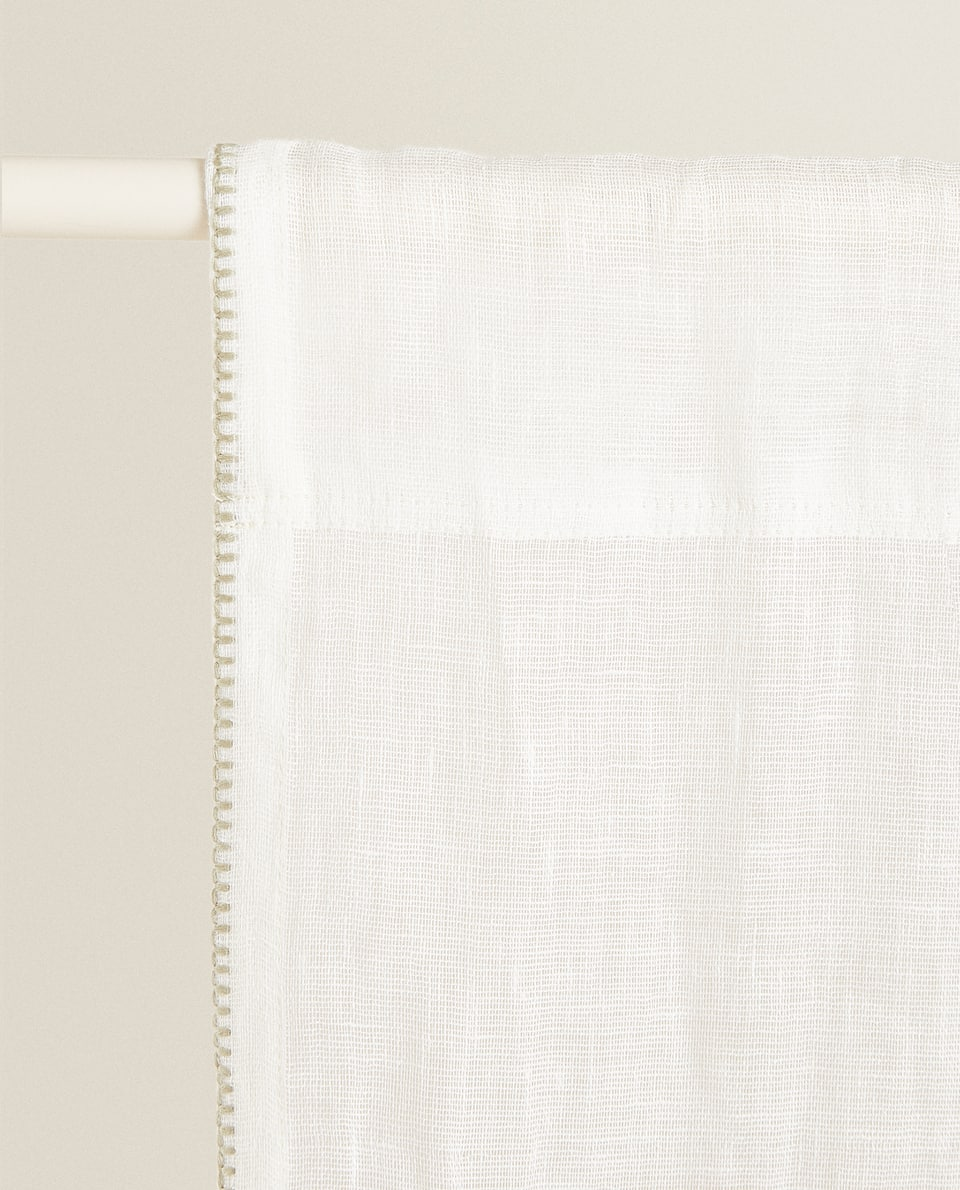 LINEN CURTAIN WITH CONTRAST TOPSTITCHING