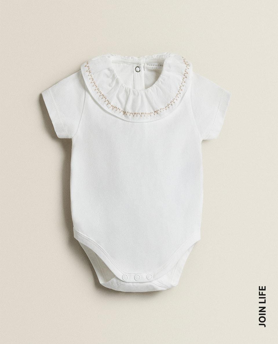 BODYSUIT WITH EMBROIDERED COLLAR
