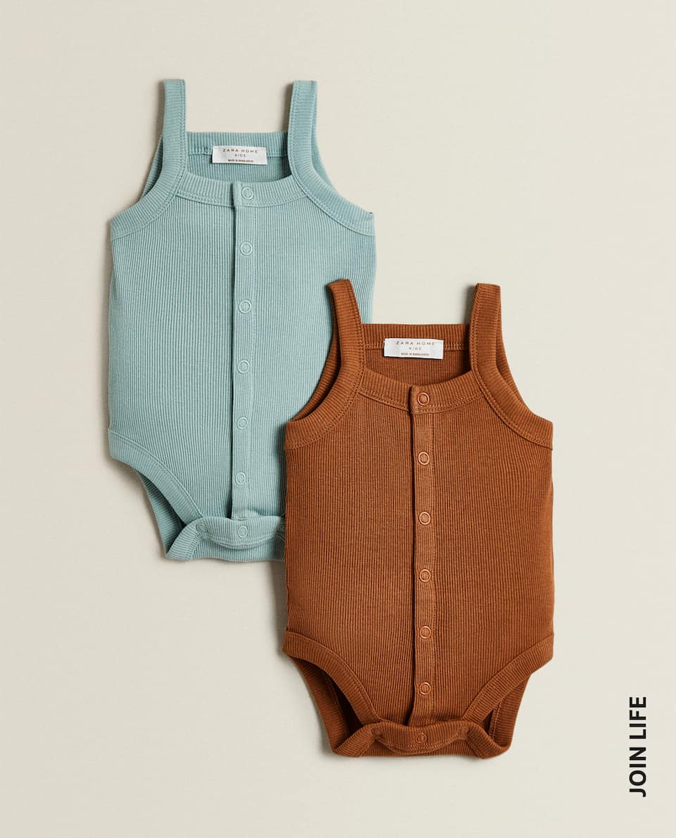 COLOURED RIBBED BODYSUIT (PACK OF 2)