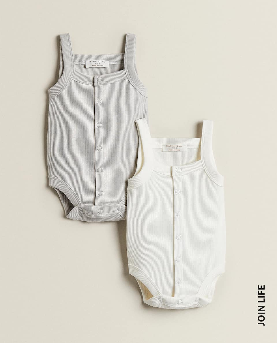 RIBBED BODYSUIT IN NEUTRAL SHADES (PACK OF 2)