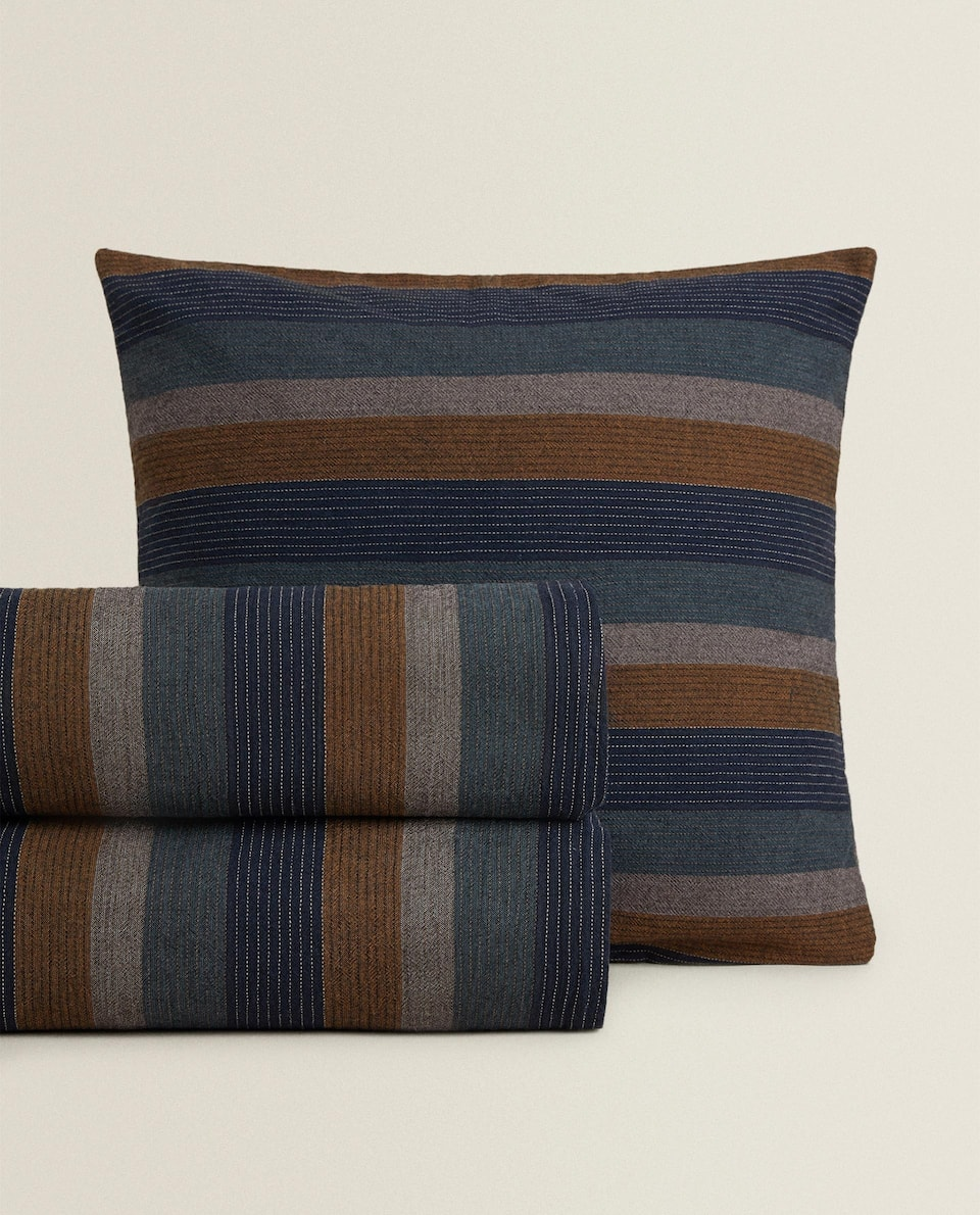 BEDSPREAD WITH MULTICOLOURED VERTICAL STRIPES