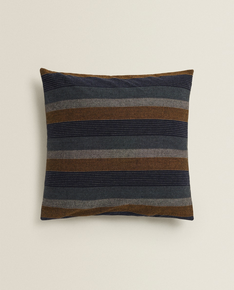CUSHION COVER WITH MULTICOLOURED VERTICAL STRIPES
