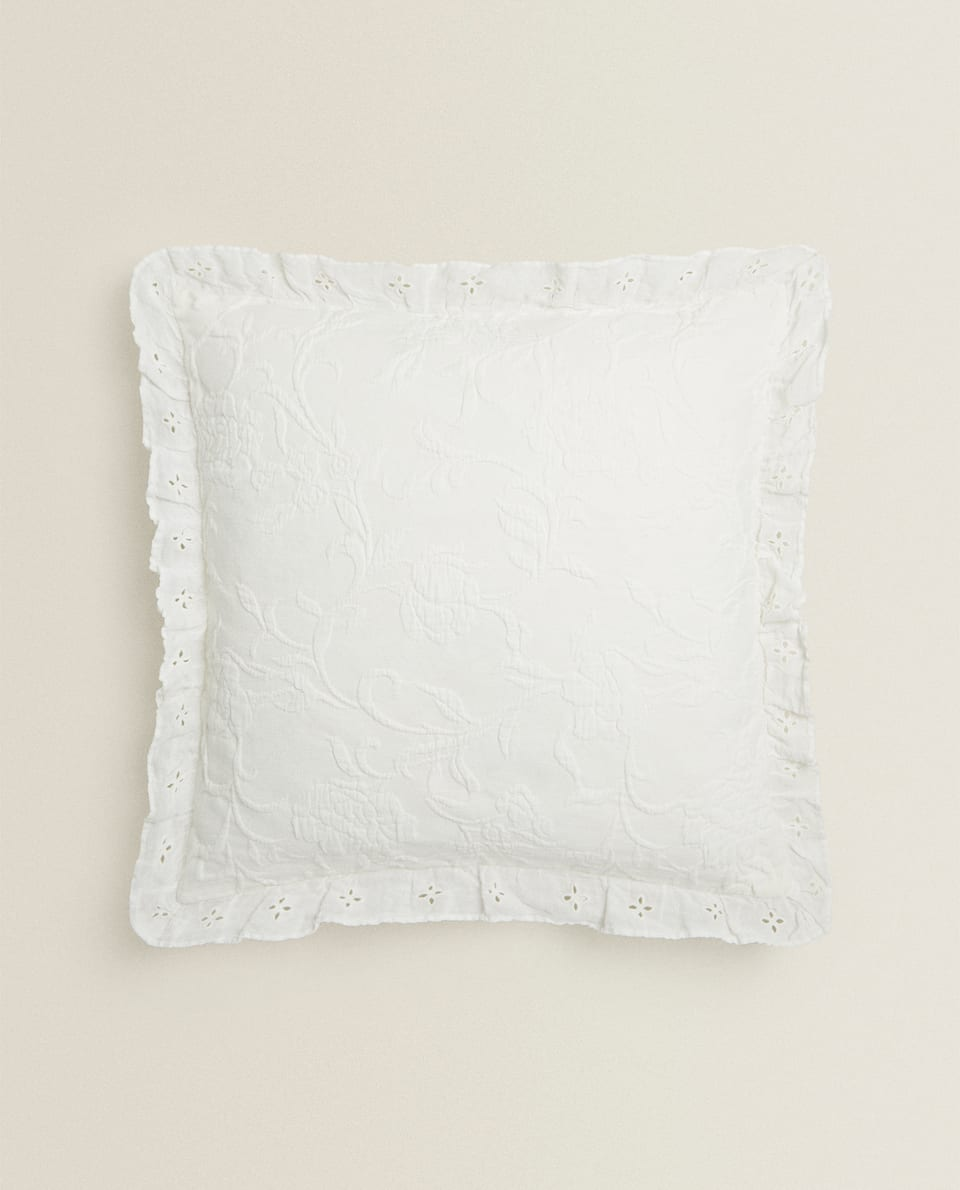 EMBROIDERED FRILL THROW PILLOW COVER