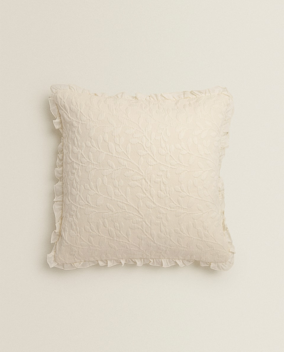 LEAVES AND RUFFLES COTTON CUSHION COVER