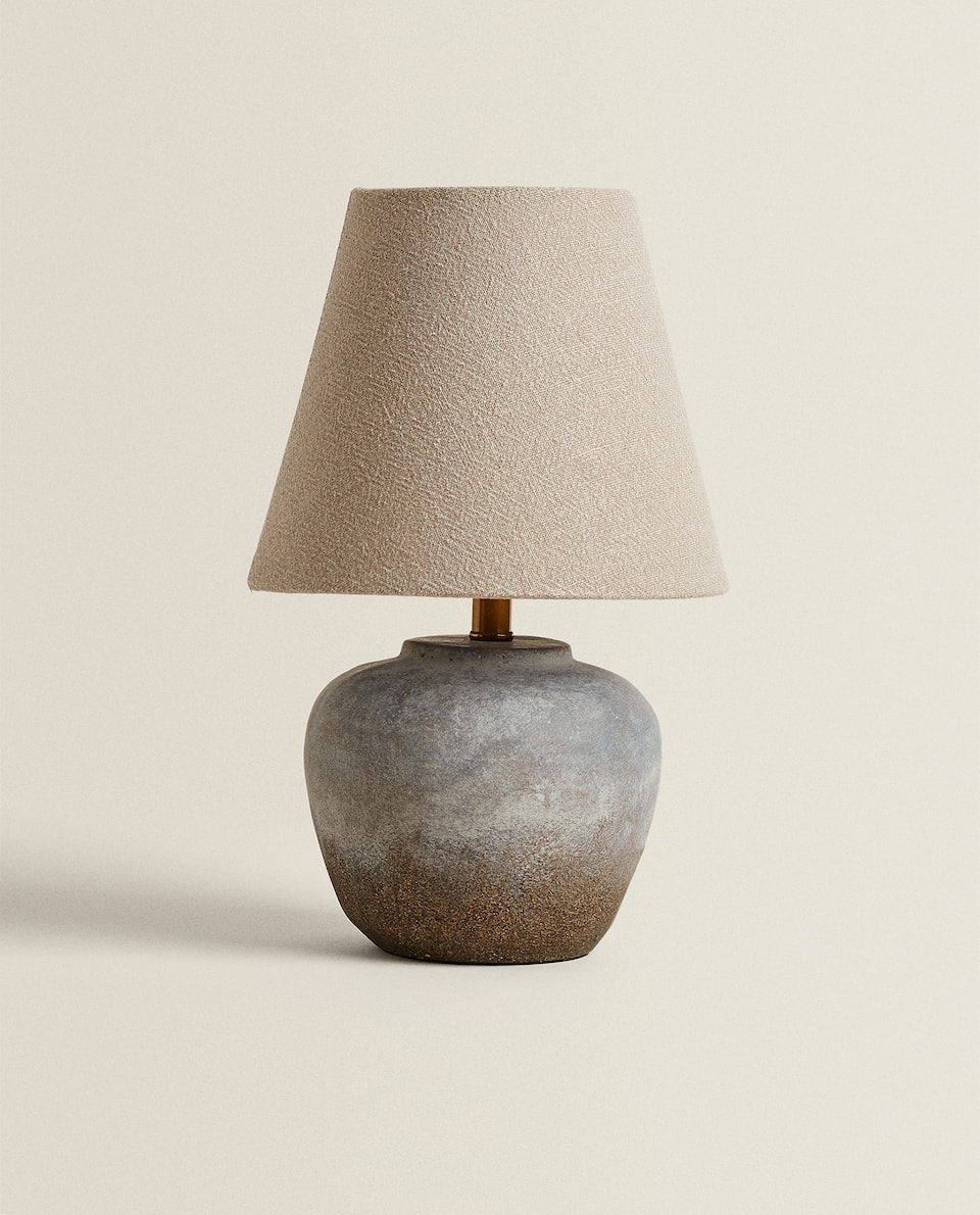 LAMP WITH CEMENT GREY BASE